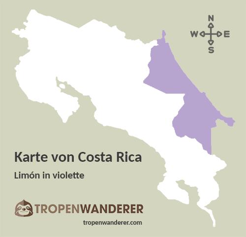 Karte Provinz Limón, Costa Rica